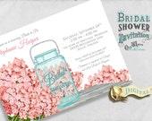 Printable Pink Bridal Shower Invitation, Rustic Shower Mason Jar - Hydrangea Flowers Country Chic - Custom Invite 5x7 4x6 Digital JPEG PDF