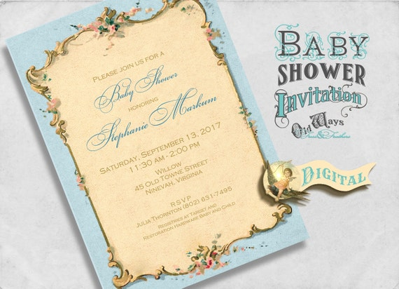 elegant vintage baby boy shower invitation or sip see invite french