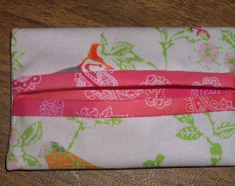 Birds and Pink Paisley Print Fabric Travel Tissue Pouch/Holder