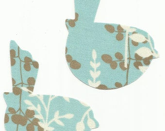 Set of 2 Blue Leaf Print Bird Fabric Iron on Appliques ~ No Sew