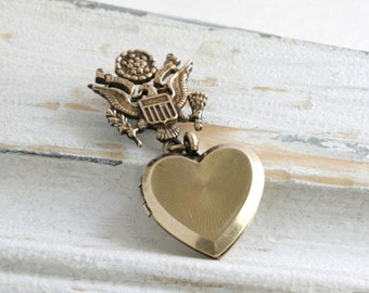 Gold Filled WWII Sweatheart Eagle and Heart Locket Brooch Signed A & Z Company // Vintage Estate Jewelry // fruitsdesbois