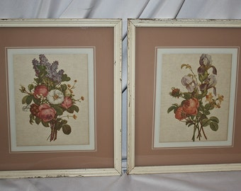 "Shabby Chic Florals, Framed Pair, Franklin Picture Frame Co., Chicago, #8050, 13"" X 15"""