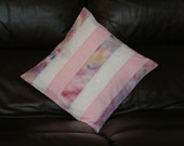 Cushion cover,pillow sham,throw pillow,white broidre anglaise,pink floral,pinks hand dyed,striped,16 x 16 inch,unique,