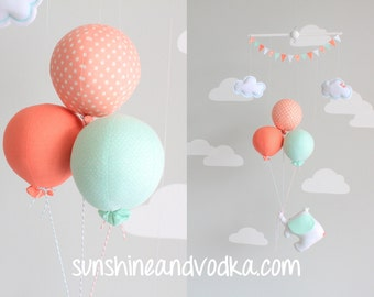 Mint and Coral, Baby Mobile, Elephant and Balloon Mobile, Travel Theme, Nursery Decor, Circus Mobile, i90