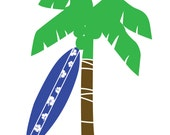 wall decal - kids decals - palm tree decal - vinyl decals - surfboard decal nursery decal