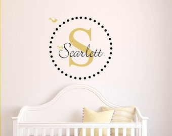 Kids decals - initial decal - monogram - name decals - bird -  vinyl wall decal - wall decals - Nursery decal - child's name decal - gold