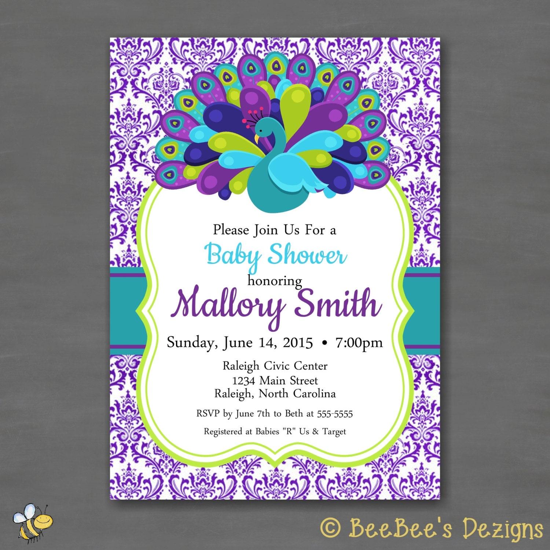peacock baby shower party invitationprintable invitation