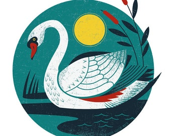"Swan Song -8.5X11"" print of illustration"