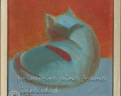 Framed Oil Painting Exotic Shorthair Persian CAT Expressionistic Rough Primitive Swedish Contemporary Modern Original painting on canvas