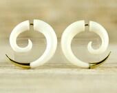 Fake Gauges Earrings Spiral Earrings Boho Tribal Style  White Bone Organic - FG079 BM G1