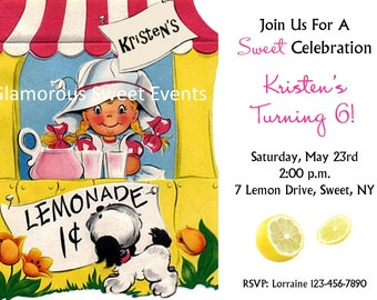 Lemonade Stand Birthday Invitation - Free Thank You card included  - Printable - GLAMOROUS SWEET EVENTS