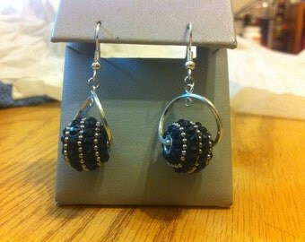 Black and silver textured balls earrings