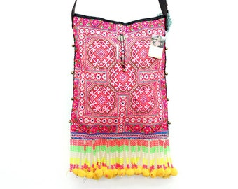 Cross Body Bag With Pom Pom Tassel Vintage Embroidered HMONG Fabric (BG028.3)