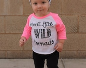 Sweet Little Wild Tornado Raglan Graphic Tee (Neon Pink). Baseball tshirt for little girl. American Apparel.