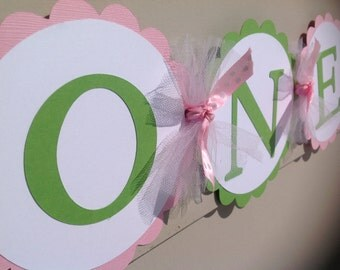 First Birthday High Chair Banner Pink and Green
