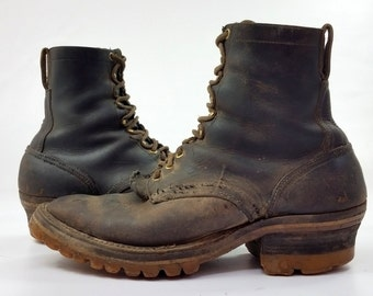 70s Packer Boots Buffalo Spokane Smoke Jumper Packer Black Leather Semi Dress Motorcycle Biker Boots, 11.5 C
