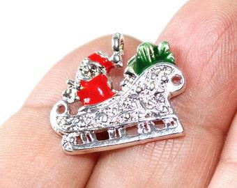 2 Santa Sleigh Enamel Silver Plated Charms - EN109