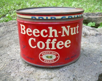 Vintage Beech-Nut Coffee Tin Can - Red and White