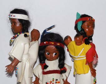 very nice group of vintage Native American dolls - with 3 tiny babies on their backs - indians - papooses - collectibles