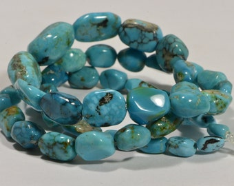 Nevada Blue Turquoise Progressive Strand Beads Nuggets Turquoise Beads natural Gemstone Beads Jewelry Making Supplies