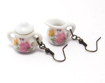 Tea Set Earrings, Cream and Sugar, Teapot Jewelry