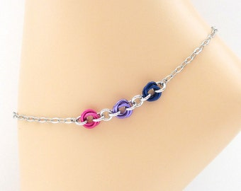Bi pride anklet, chainmail ankle chain, love knot jewelry pink purple blue