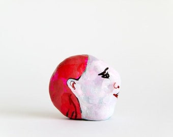 small face sculpture, air dry clay, painted, one of a kind, figurine, polymer clay figure, bust, fine art original
