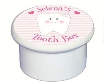 Personalized Tooth Box for boys or girls - Tooth Fairy Box - Teeth Keeper Ceramic Keepsake for Tooth Storage Custom Pink Blue BOXFAIR-tooth