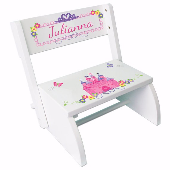 Personalized Princess Step Stool Custom White Stepping Stools