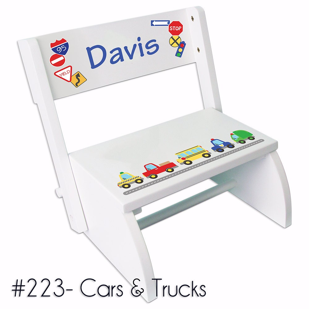 Personalized Cars Amp Trucks Stool Childs Transportation Step