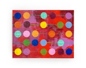 Abacus abstract collage ORIGINAL PAINTING impasto red and polka dots by Elizabeth Rosen