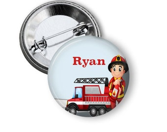 Fireman name badge or fridge magnet