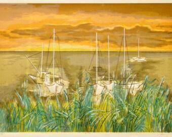 Vintage 1960s Artwork - Guy Maccoy - Sail Boats at Anchor - Pencil Signed Serigraph - Sunset and Sailboats Artwork in Yellow Green and Brown