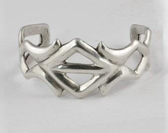 Pre-1970 Native American Silver Sandcast Bracelet - Woman's Vintage Silver Geometric Cuff Bracelet