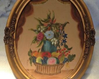 Antique oval guilted gesso frame painted felt flower stillife painting