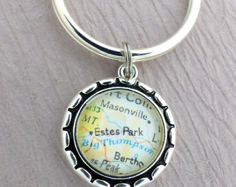 Custom Map Keychain, Personalized Map Necklace, Map Pendant, You Pick - Anywhere in the World , Husband gift, Honeymoon, Wife Gift