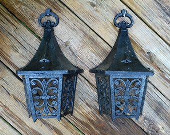 Vintage Black Metal Coach Light Covers.....Architectural Find....Home Improvement