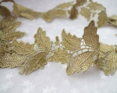 metiallic Gold lace trim with grace leaves
