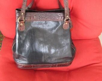 Vintage BRAHMIN Black and Brown Faux Crocodile Trim Leather Bucket Style Handbag
