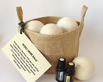 Dryer Balls, Wool Dryer Balls, Felted Wool, Eco-Friendly, natural laundry alternative, set of 6, White