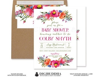 Printable BABY SHOWER INVITATION Boho Watercolor Rustic Girl Baby Shower Fuchsia Flower Foliage Floral Free Priority Shipping or DiY - Colby