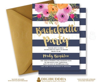 BACHELORETTE PARTY INVITATION Navy & Gold Stripe Bridal Shower Invites Gold Glitter Flower Wedding Hens Free Shipping or DiY Printable- Mady