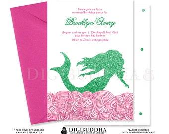 MERMAID BIRTHDAY INVITATION Green + Pink Glitter Printable Invite Hot Pink Fuchsia Girl Party Free Priority Shipping or DiY - Brooklyn