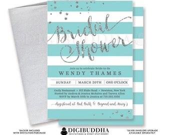 AQUA & SILVER BRIDAL Shower Invitation Stripes Printable Invite Turquoise Silver Glitter Modern Wedding Free Priority Shipping or DiY- Wendy