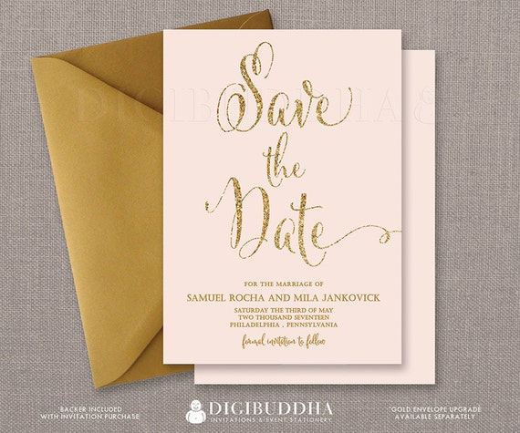 Blush Pink & Gold Save The Date Cards Gold Glitter Modern Boho ...
