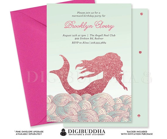 MERMAID BIRTHDAY INVITATION Mint & Pink Glitter Invite