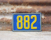 Vintage Number Sign # 882 Blue & Yellow Metal Sign Boat License Plate Small Metal 1960s 1970s Era # Sign Wall Decor vtg Digit Numeral Old