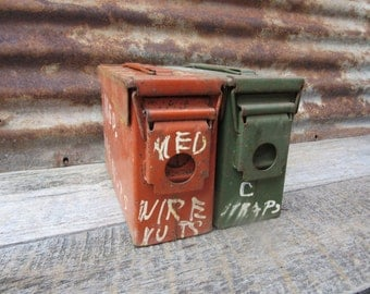 Set of 2 Heavily Distressed Metal Bins with Locking Lids Industrial Storage Salvage Ammo Box Style Ammunition Green Orange Vintage Metal vtg