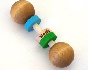 Personalized Wooden Baby Rattle - Choose your colors - an Heirloom Baby Toy - Stocking Stuffer