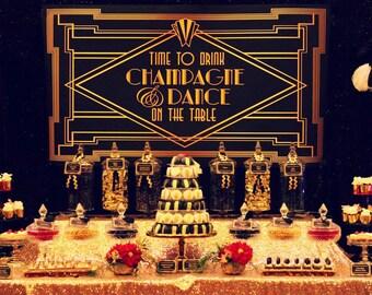 "GREAT GATSBY Backdrop Banner - Art Deco 1920s Style Printable Artwork - Digital File - 60""w x 40""h - You Print - Champagne - Dance"